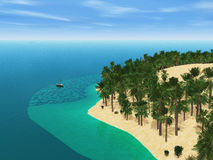 3D yacht travelling to a palm tree island Stock Photos
