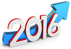 3d 2016 year with arrow up, growth concept. On white background Royalty Free Stock Photos