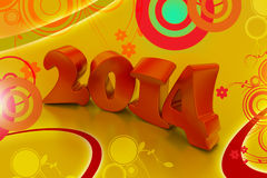 3D 2014 year. In attractive colour background Stock Photos