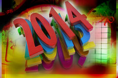 3D 2014 year. In colour background Stock Photo
