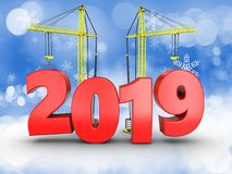 3d 2019 year with crane. 3d illustration of 2019 year with crane over snow background Stock Photo