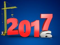 3d 2017 year with crane. 3d illustration of 2017 year with crane over blue background Royalty Free Stock Image