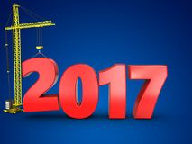 3d 2017 year with crane. 3d illustration of 2017 year with crane over blue background Stock Images