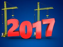 3d 2017 year with crane. 3d illustration of 2017 year with crane over blue background Royalty Free Stock Images