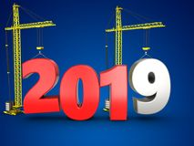 3d 2019 year with crane. 3d illustration of 2019 year with crane over blue background Royalty Free Stock Images