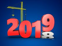3d 2019 year with crane. 3d illustration of 2019 year with crane over blue background Royalty Free Stock Photo
