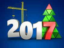 3d 2017 year with crane. 3d illustration of 2017 year with crane over blue background Stock Photo
