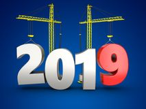3d 2019 year with crane. 3d illustration of 2019 year with crane over blue background Stock Photography