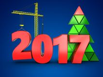 3d 2017 year with crane. 3d illustration of 2017 year with crane over blue background Stock Image