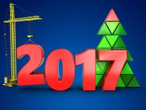 3d 2017 year with crane. 3d illustration of 2017 year with crane over blue background Stock Photos