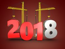3d 2018 year with crane Stock Images