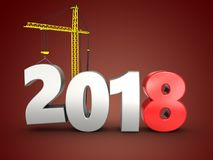 3d 2018 year with crane Royalty Free Stock Image