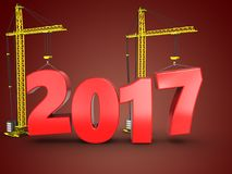 3d 2017 year with crane. 3d illustration of 2017 year with crane over red background Stock Photos