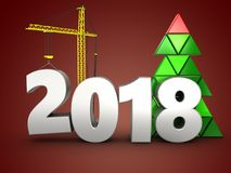 3d 2018 year with crane. 3d illustration of 2018 year with crane over red background vector illustration