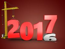 3d 2017 year with crane Royalty Free Stock Photo