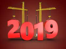3d 2019 year with crane. 3d illustration of 2019 year with crane over red background royalty free stock images