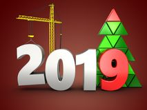 3d 2019 year with crane. 3d illustration of 2019 year with crane over red background Stock Photo