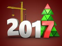 3d 2017 year with crane. 3d illustration of 2017 year with crane over red background Royalty Free Stock Photo