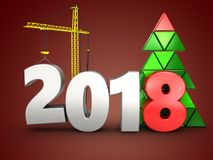 3d 2018 year with crane. 3d illustration of 2018 year with crane over red background royalty free illustration