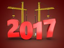 3d 2017 year with crane. 3d illustration of 2017 year with crane over red background Stock Photo