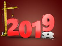 3d 2019 year with crane. 3d illustration of 2019 year with crane over red background Stock Images