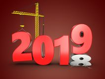 3d 2019 year with crane Stock Images