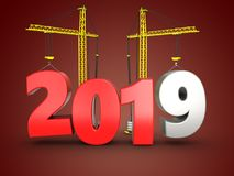 3d 2019 year with crane Royalty Free Stock Photo