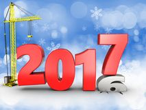 3d 2017 year with crane. 3d illustration of 2017 year with crane over snow background Royalty Free Stock Images