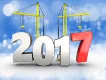3d 2017 year with crane. 3d illustration of 2017 year with crane over snow background Stock Photos