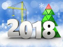 3d 2018 year with crane. 3d illustration of 2018 year with crane over snow background royalty free illustration