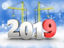 3d 2019 year with crane. 3d illustration of 2019 year with crane over snow background Stock Photography