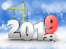 3d 2019 year with crane. 3d illustration of 2019 year with crane over snow background Stock Images