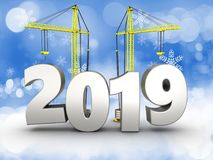 3d 2019 year with crane. 3d illustration of 2019 year with crane over snow background Royalty Free Stock Images