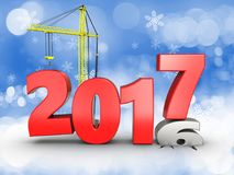 3d 2017 year with crane. 3d illustration of 2017 year with crane over snow background Stock Image