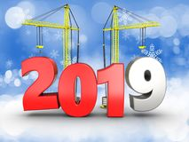 3d 2019 year with crane. 3d illustration of 2019 year with crane over snow background Royalty Free Stock Photography