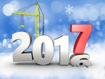 3d 2017 year with crane. 3d illustration of 2017 year with crane over snow background Royalty Free Stock Photo