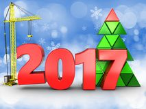 3d 2017 year with crane. 3d illustration of 2017 year with crane over snow background Stock Photo