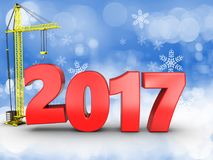 3d 2017 year with crane. 3d illustration of 2017 year with crane over snow background Royalty Free Stock Photos