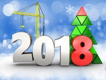 3d 2018 year with crane. 3d illustration of 2018 year with crane over snow background stock illustration