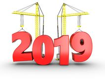 3d 2019 year with crane. 3d illustration of 2019 year with crane over white background Stock Photo