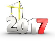 3d 2017 year with crane. 3d illustration of 2017 year with crane over white background Royalty Free Stock Photo