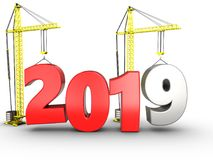 3d 2019 year with crane. 3d illustration of 2019 year with crane over white background Royalty Free Stock Image