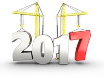 3d 2017 year with crane. 3d illustration of 2017 year with crane over white background Royalty Free Stock Images