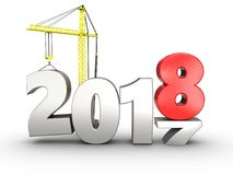 3d 2018 year with crane. 3d illustration of 2018 year with crane over white background stock illustration