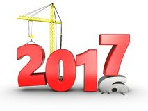 3d 2017 year with crane. 3d illustration of 2017 year with crane over white background Stock Image