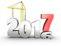 3d 2017 year with crane. 3d illustration of 2017 year with crane over white background Royalty Free Stock Image