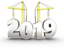 3d 2019 year with crane. 3d illustration of 2019 year with crane over white background Stock Images