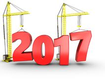3d 2017 year with crane. 3d illustration of 2017 year with crane over white background Stock Images