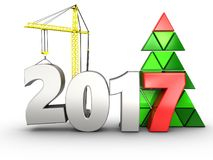 3d 2017 year with crane. 3d illustration of 2017 year with crane over white background Royalty Free Stock Photography