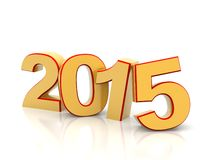 3D 2015 year figures. 3D 2015 year golden figures with shadow Stock Photography